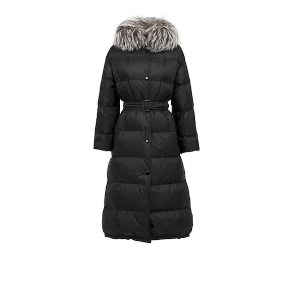 Fur-Trimmed Oversize Nylon Down Jacket