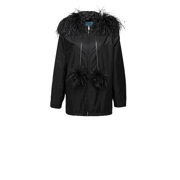 Nylon Peacoat with Feathers