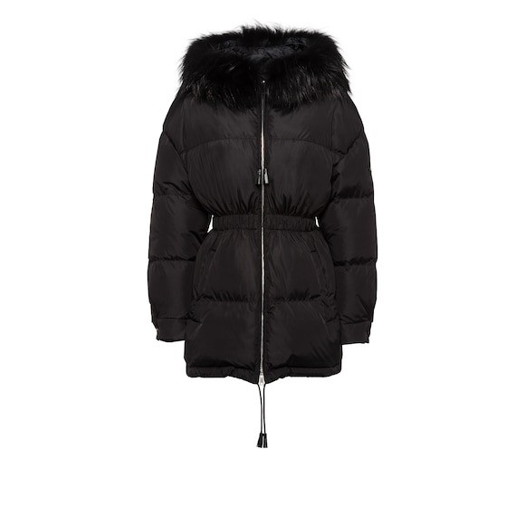Feather nylon puffer jacket with fur