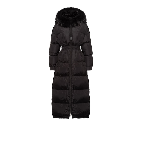 Feather nylon puffer coat with fur trim