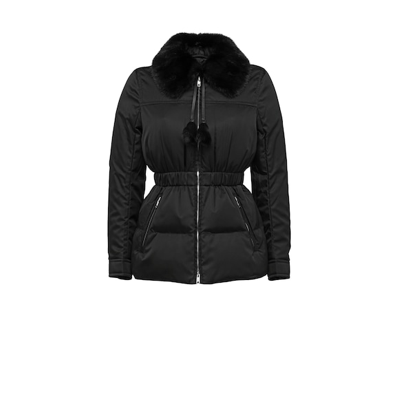 Puffer jacket with mink fur collar