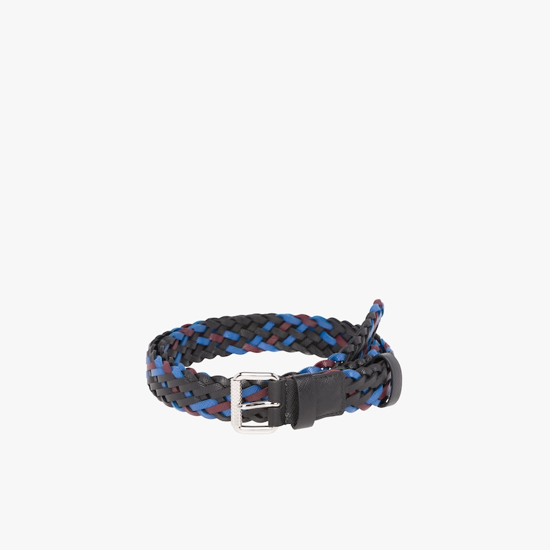 Braided Saffiano leather belt