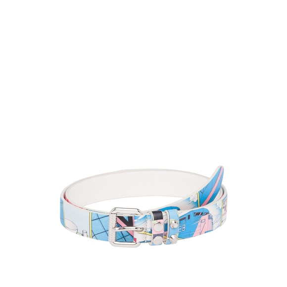 Printed calf leather belt