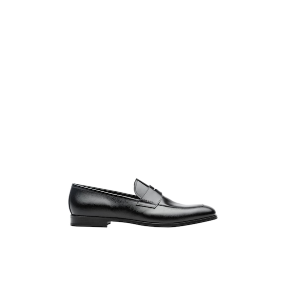 Saffiano and brushed leather moccasins