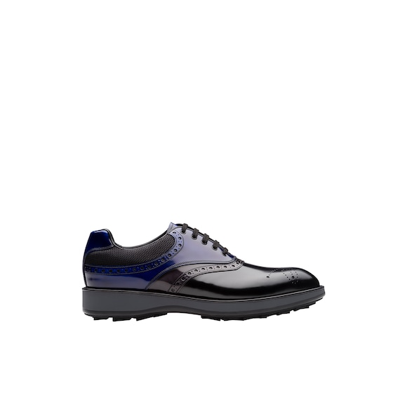 Leather and fabric Oxford shoes