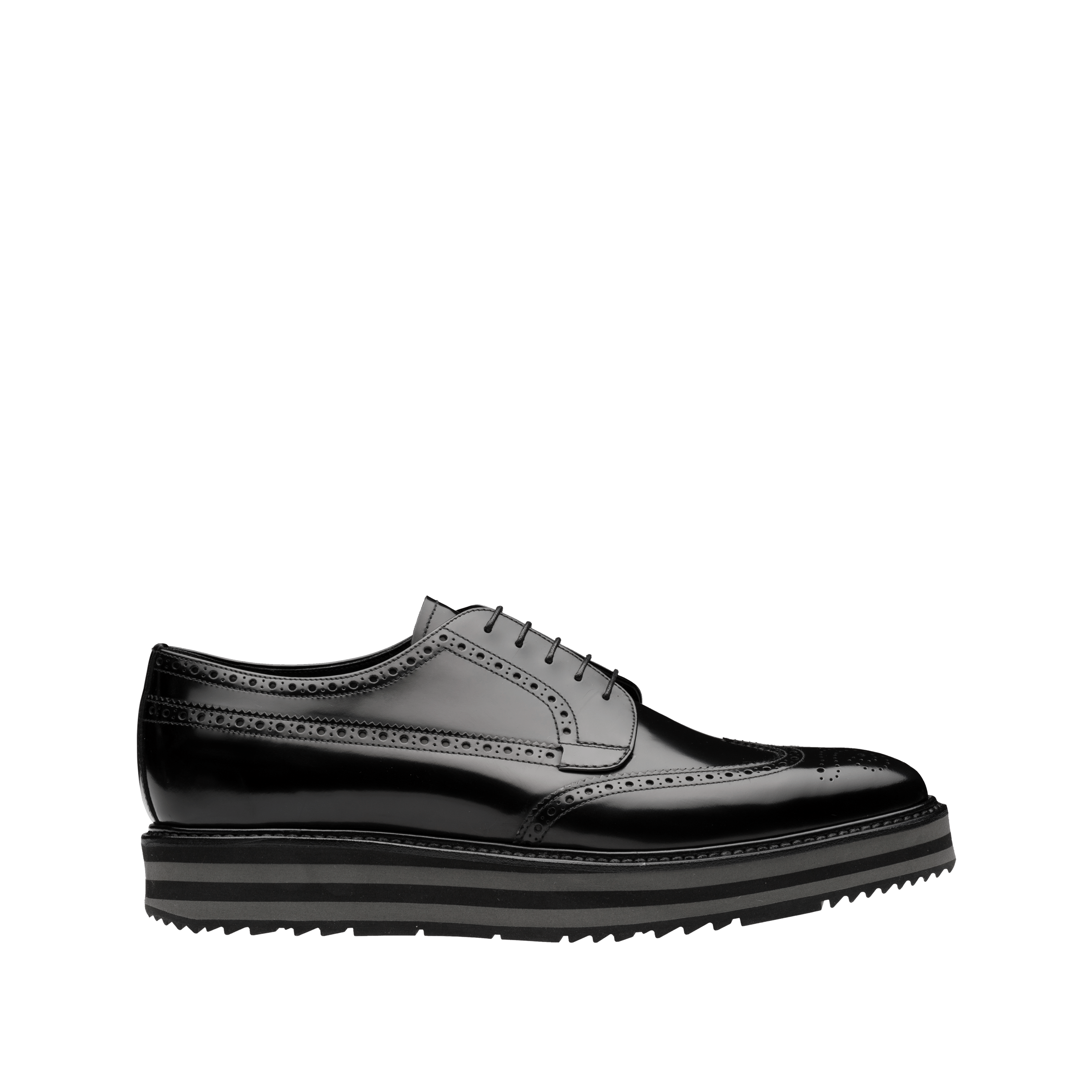 Leather Platform Derby Shoes BLACK Prada