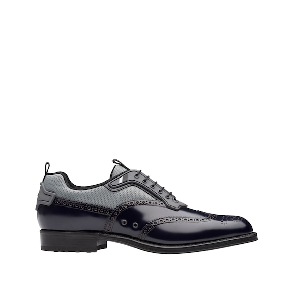 Leather and Technical Fabric Lace-up Shoes