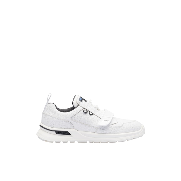 Crepe-effect leather sneakers