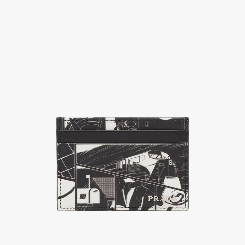 Printed leather credit card holder