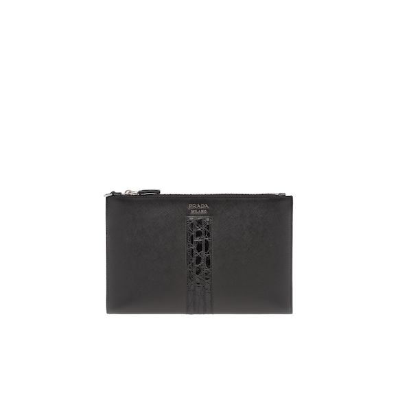 Saffiano and crocodile leather pouch