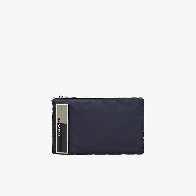 Nylon pouch with leather trim
