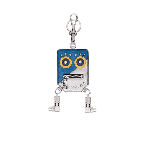 Saffiano leather Robot Trick keyring