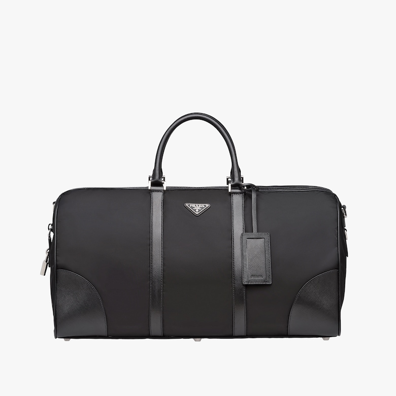 Nylon And Saffiano Leather Travel Bag