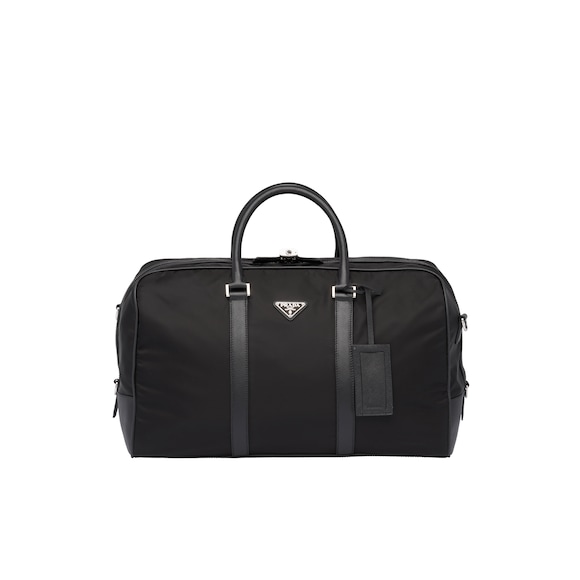 Nylon and Saffiano leather duffle bag