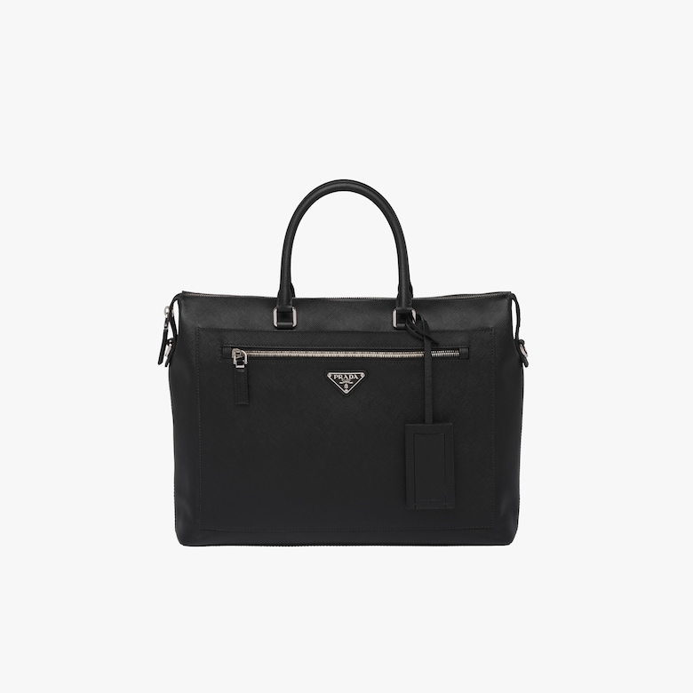Saffiano leather briefcase