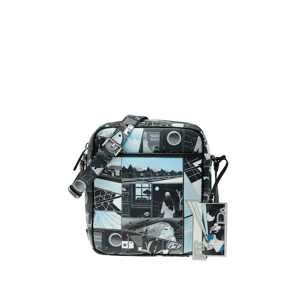 Printed leather messenger bag