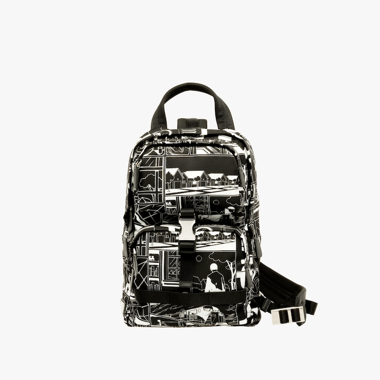 Technical fabric one-shoulder backpack