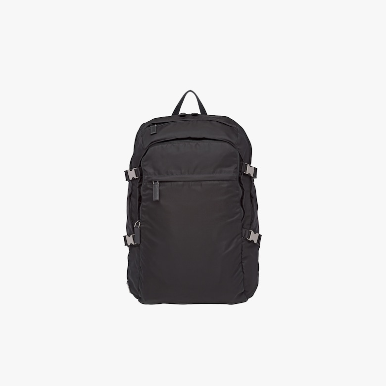 Technical fabric and Saffiano leather backpack