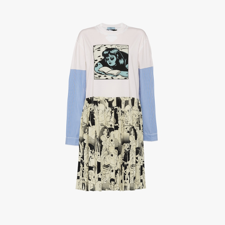 Jersey and crepe de chine dress