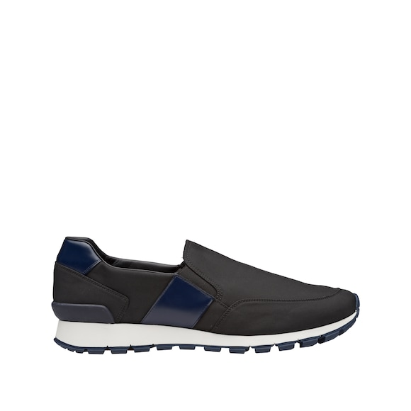 Nylon and rubberized calf leather slip-on shoes