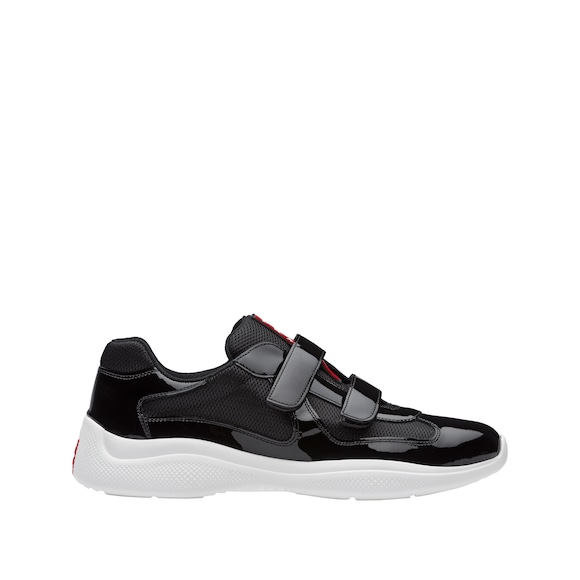 Patent leather and bike fabric sneakers