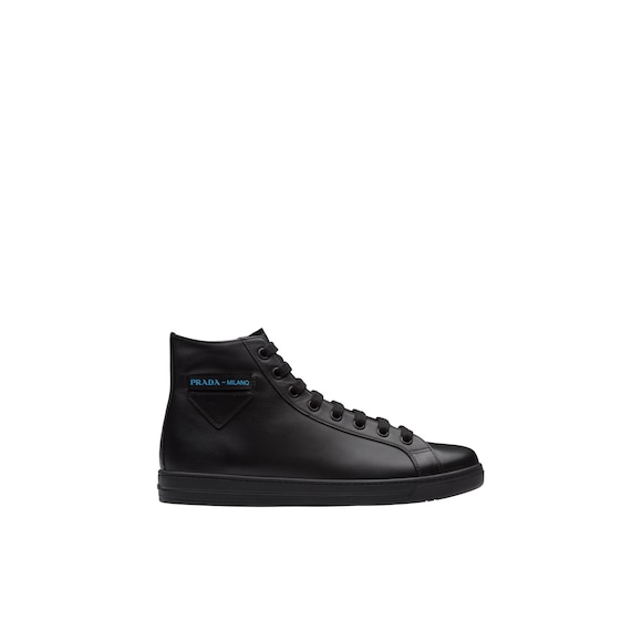 Leather high-top sneakers with Etiquette label