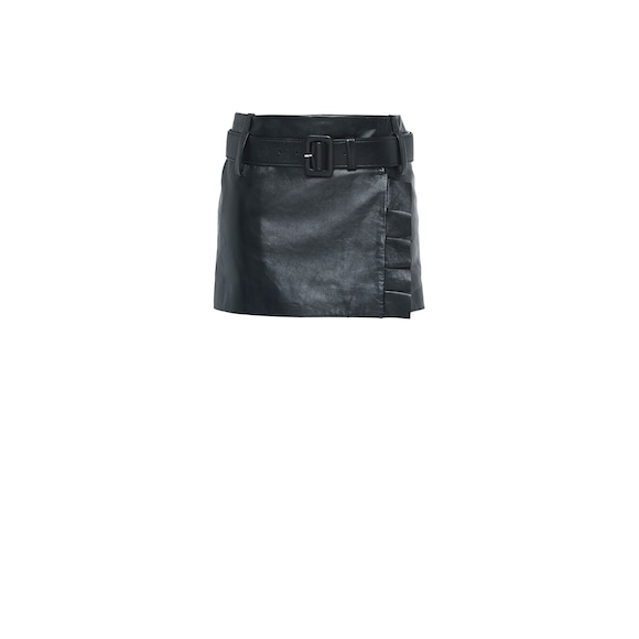 Nappa leather miniskirt with belt and ruching