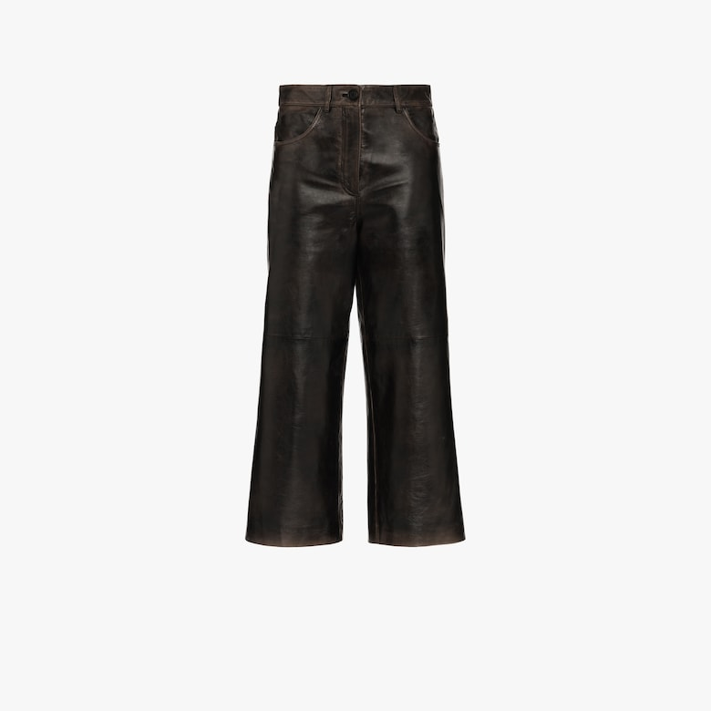 Pantalon court en cuir