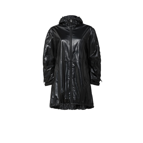 Hooded nappa leather caban jacket