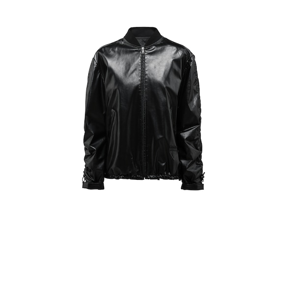 Foil nappa leather bomber jacket