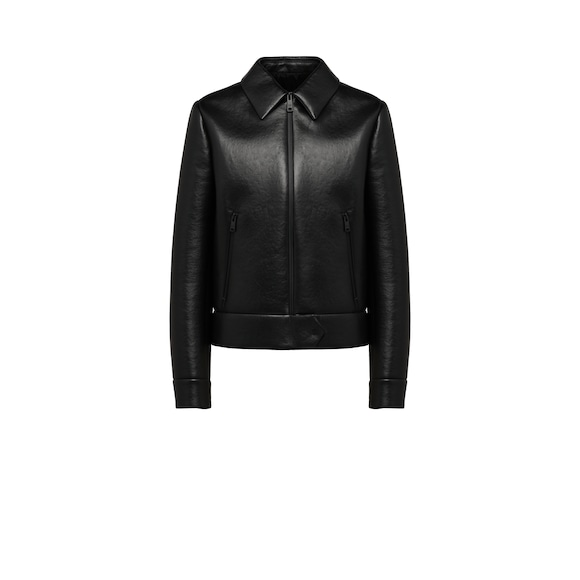 Nappa leather jacket with collar
