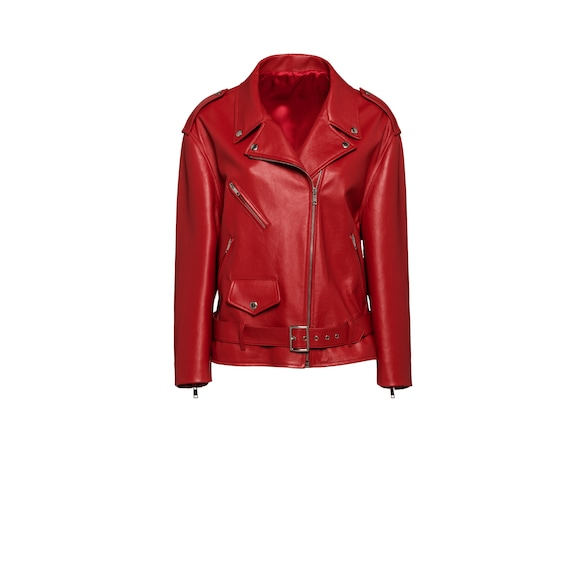 Opaque nappa leather biker jacket