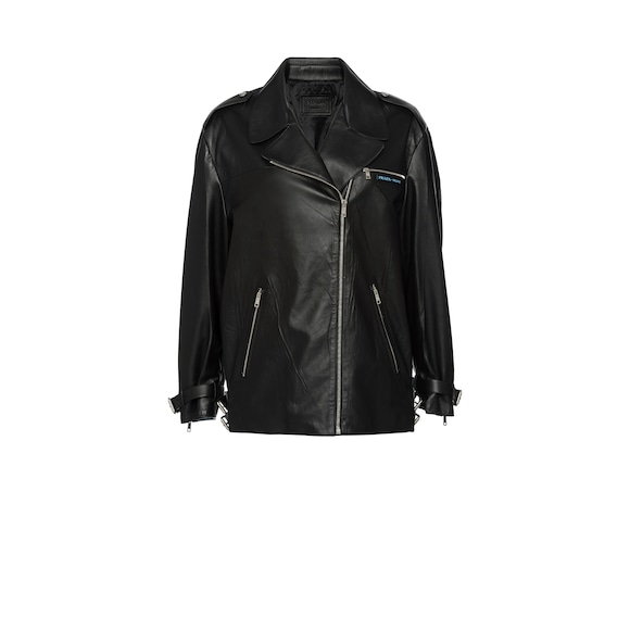 Oversized leather biker jacket