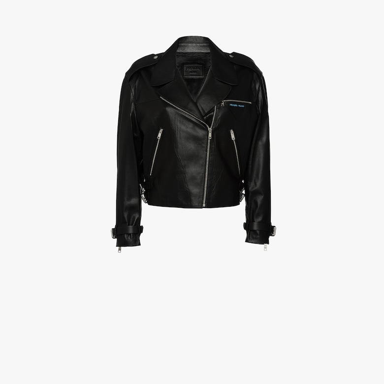 Cropped leather biker jacket with zipper