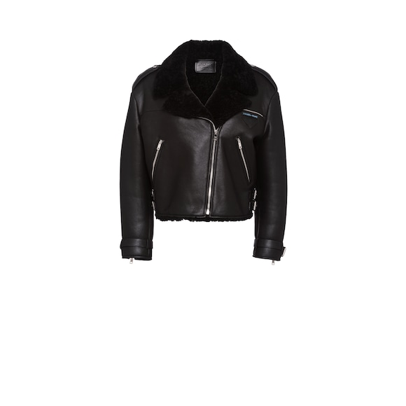 Nappa sheepskin biker jacket