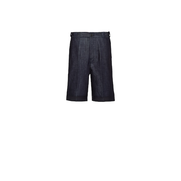 Denim Bermudas with rubberized hem