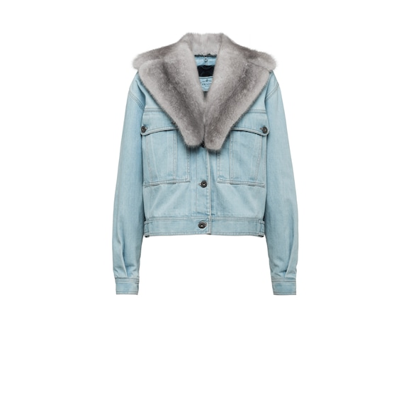 Denim jacket with fur collar