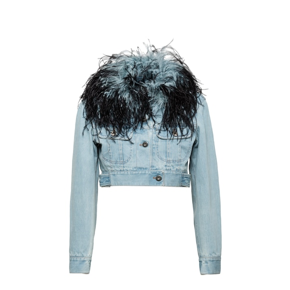 Denim jacket with ostrich feather trim