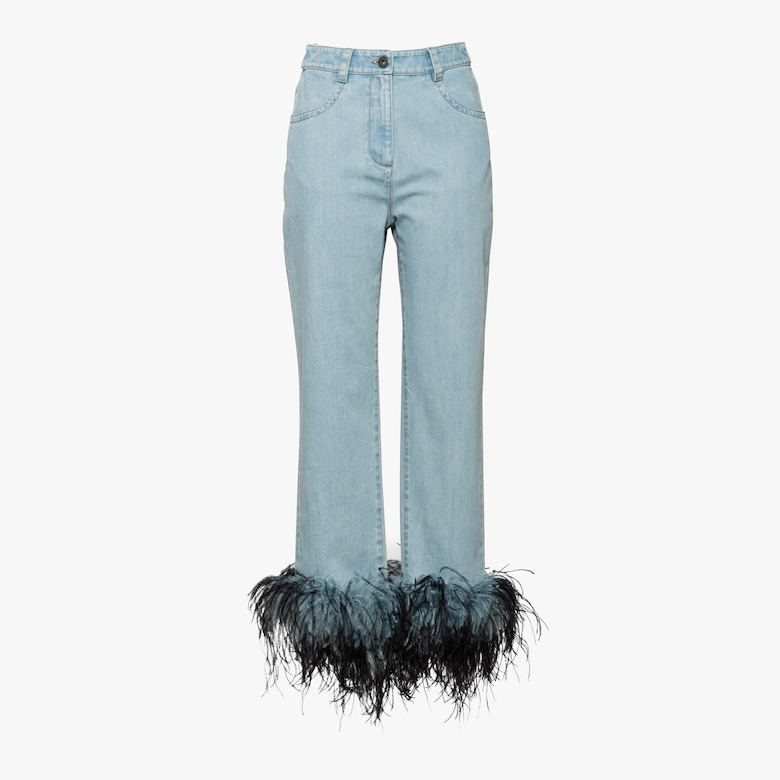 Denim jeans with ostrich feather trim