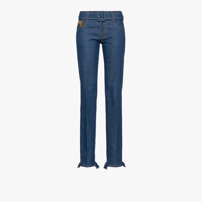 Five-pocket denim jeans with belt