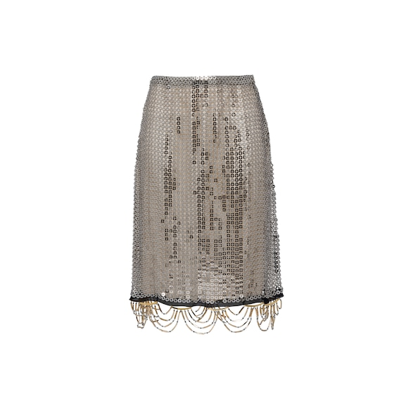 Jeweled metal mesh skirt