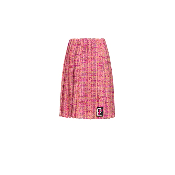 Pleated tweed skirt