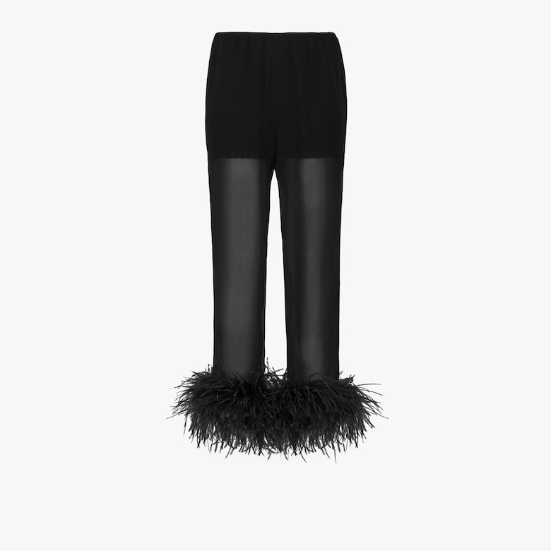 Chiffon trousers with feathers