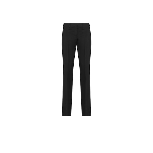 Wool blend flared trousers