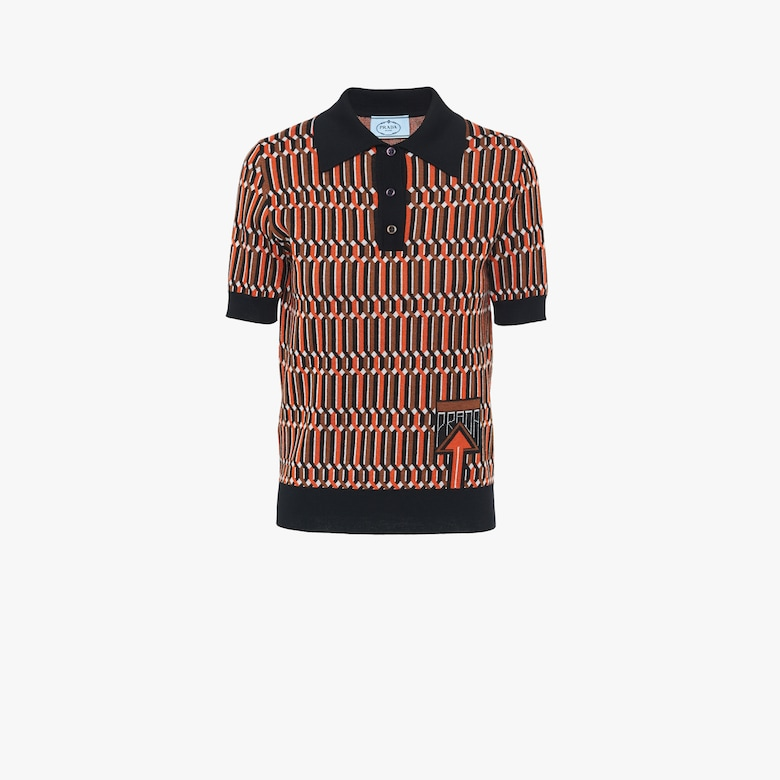 Jacquard wool polo shirt