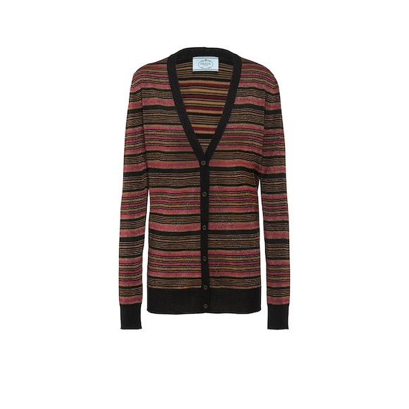 Wool and lamé cardigan