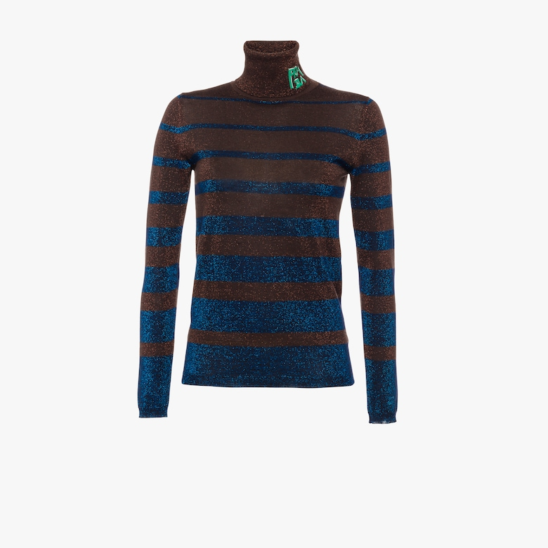 Lamé wool turtleneck