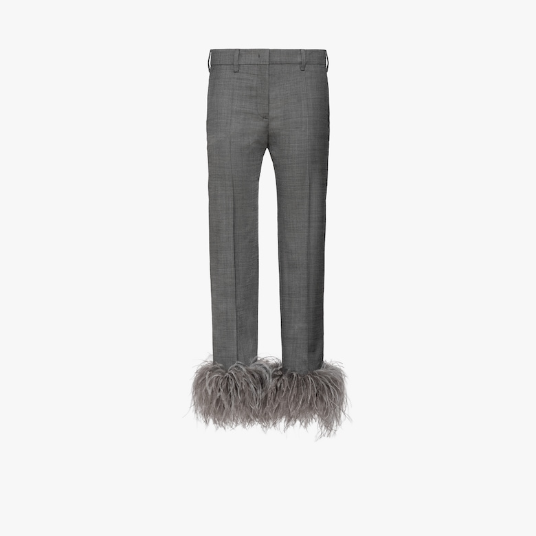 Wool blend trousers with feathers