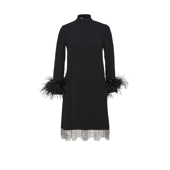 Sable dress with feathers