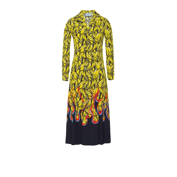 Printed fluid twill dress